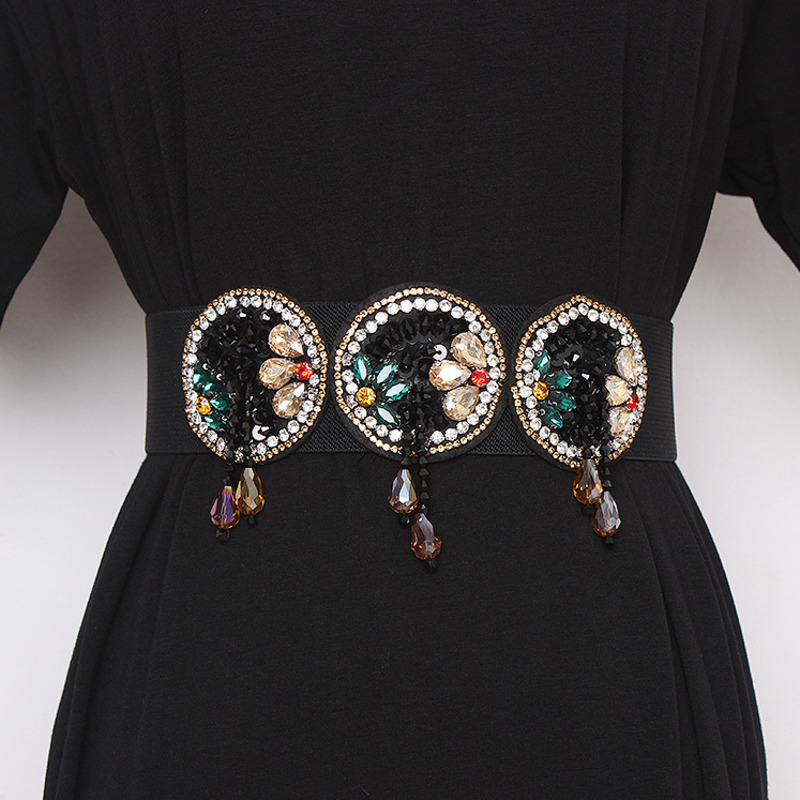 2020 Fashion New Design Tide Belts For Women Corset Belt Elastic Solid Diamond Wide Belt Stylish Crystal Waistband Female ZK570