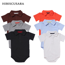 קלאסי של הבנים תינוק 3 חבילה קצר שרוול בגד גוף יוניסקס Bebe אורגני כותנה תורו למטה צווארון Bodysuits סרבל