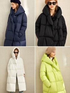 Image 4 - Amii kış beyaz ördek aşağı konfeksiyon kış yeni gevşek şapka eğimli düğmesi sıcak uzun ekmek konfeksiyon 11970463