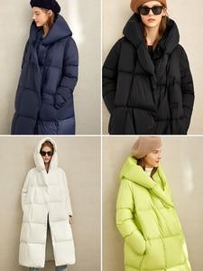 Image 4 - Amii зимняя одежда на белом утином пуху, новая зимняя свободная шапка с наклонными пуговицами, теплая длинная одежда для хлеба, 11970463