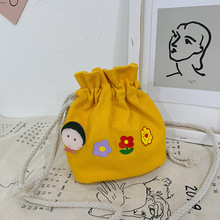 On the new bucket bag female 2020 pumping shoulder summer small fresh messenger canvas