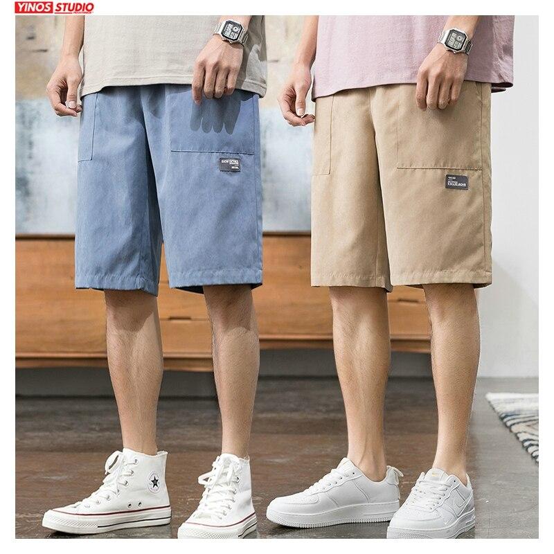 Dropshipping Men Colorful Summer Pockets Shorts Men's 2020 Knee Length Korean Loose Sweatpants Male Oversize Casual Shorts New
