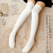 Meias de malha para mulheres, meias de inverno acima do joelho preta e branca, de algodão, macias e de tamanho grande medias de medias