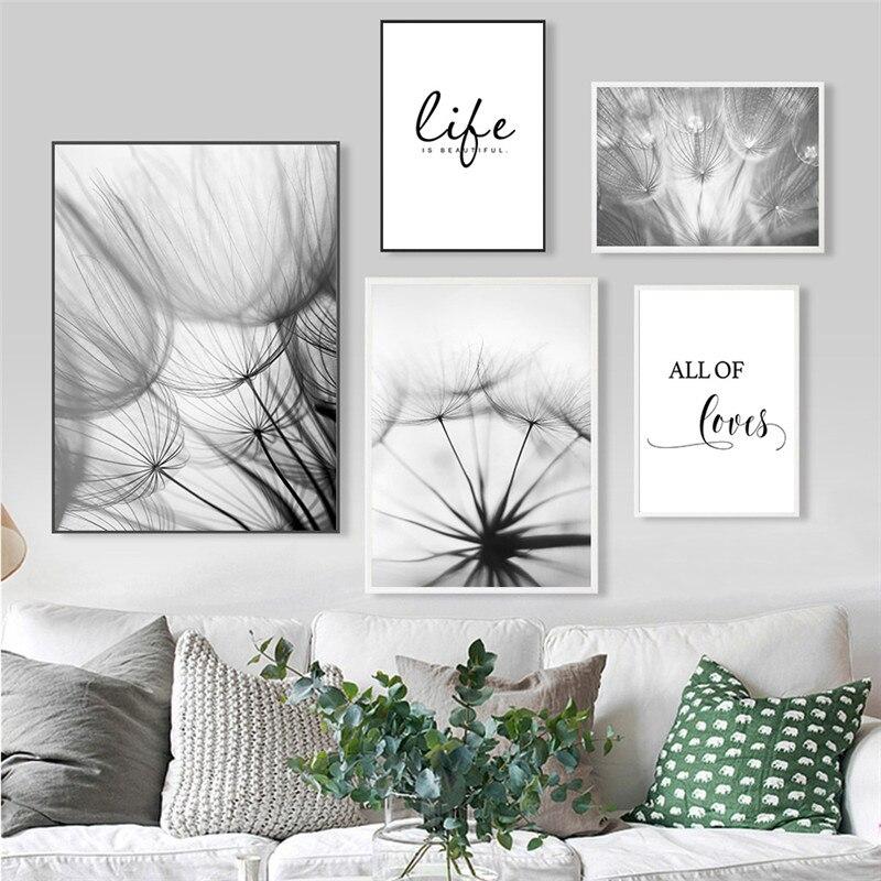 Картина на холсте, плакаты и принты, черно-белый, с цитатой «любит жизнь», настенные картины для гостиной, Декор, скандинавский Одуванчик, искусство