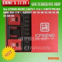 최신 MOORC 고속 E-MATE X E 메이트 박스 EMATE EMMC BGA 13in 1 100 136 168 153 169 162 186 221 529 254 easy jtag plus