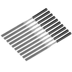 uxcell 10Pcs Second Cut Steel Flat Needle File with Plastic Handle, 4mm x 160mm