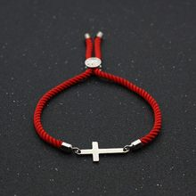 Bonito urso de aço inoxidável cruz charme pulseiras para mulheres homens sorte corda vermelha simples ajustável amizade pulseira jóias presente