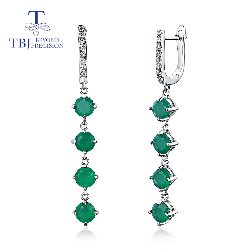 TBJ,Long Gemstone earring 4ct natural green agate round 5mm 925 sterling silver fine jewelry for girls wife party gift(China)