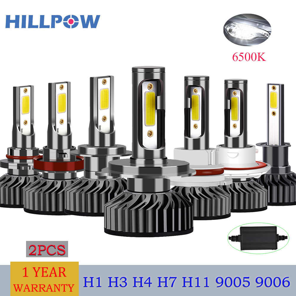 Hillpow Car Headlight H4 LED H7 Bulbs H1 H3 H8 H11 H27 HB3 9006 72W 8000LM 6500K 12V 24V Auto Headlamp COB Fog Light Bulb Sale