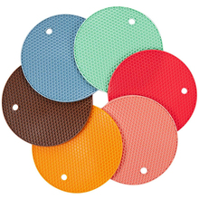 Multi-Color Silicone Mat Round Heat Resistant Mat Coasters Non-Slip Pot Holder Durable Table Placemat Kitchen Accessories Tool