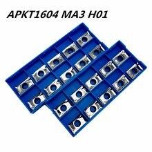 10PCS aluminum alloy tool APKT1604 MA3 H01 internal turning CNC machine blade metal AL+TIN wood
