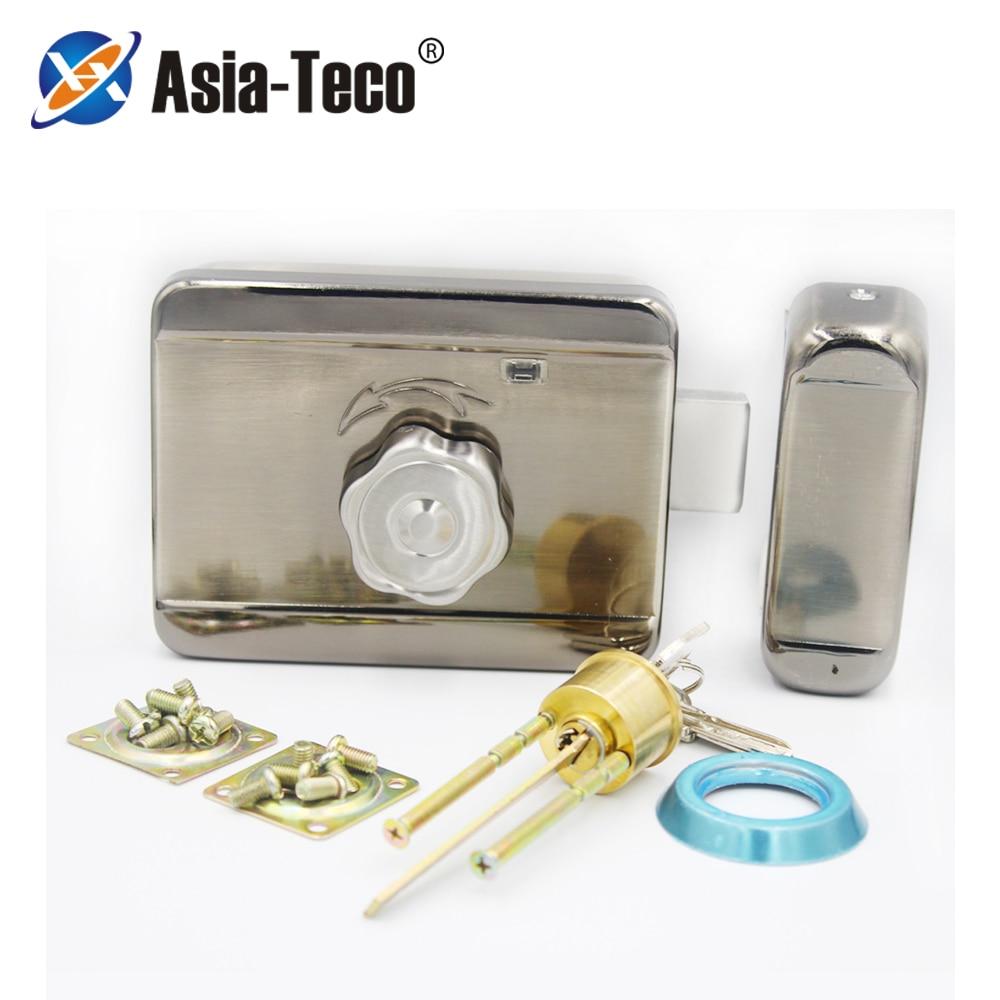 DC12V Metal Electric Lock Gate Lock Access Control System Electronic Integrated Door Rim Lock