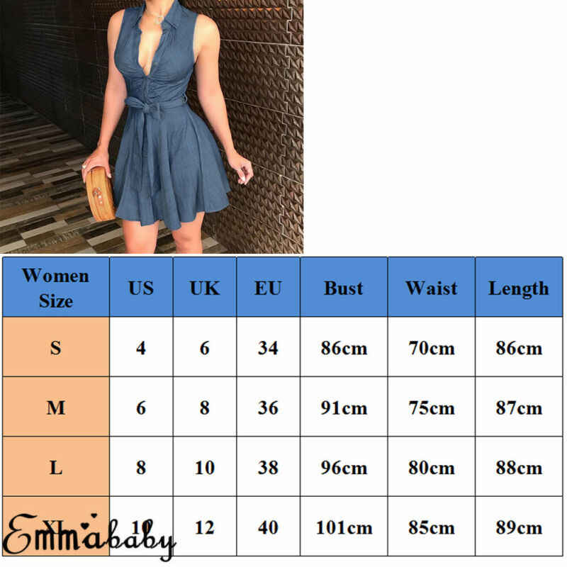 Femmes d'été Denim Mini robes Sexy col en V bouton noeud noeud bleu robe d'été Bandage robe sans manches moulante robe Vestidos