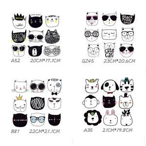 Моющиеся наклейки для одежды, футболка с аппликацией, пластыри, теплопередача, глажка, Мультяшные животные, кошки, бытовые утюги