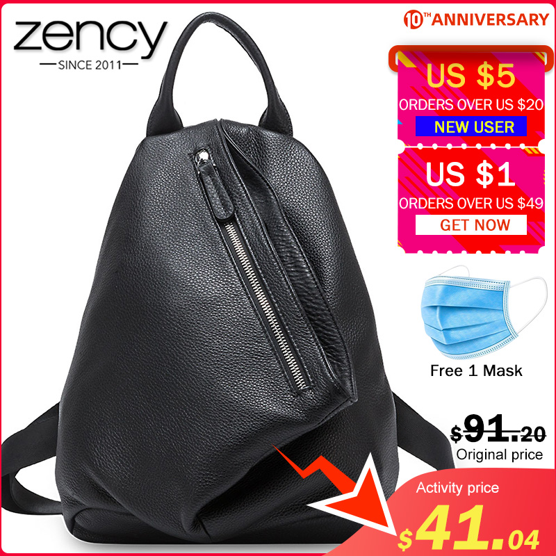 Zency Retro Women Backpack Made Of Genuine Leather Classic Black Large Capacity Travel Bag Preppy Style Schoolbag For Girls