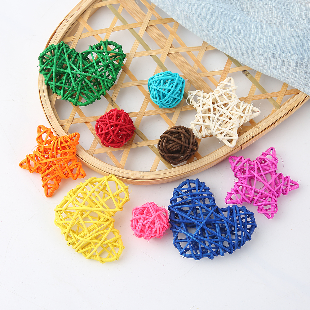 5/10pcs 3-7cm Artificial Straw Ball Stars And Love Wedding Home Christmas Decoration Rattan Ball DIY Curtain Hanging Accessories