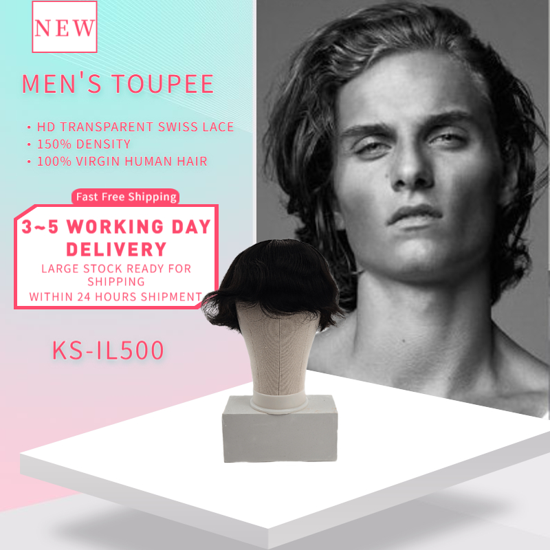 K.S WIGS 6'' Silk Top Base Men's Toupee 150% Density Natural Hairline Virgin Human Hair Lace Front Durable Hairpieces For Men