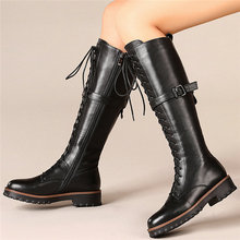 Women Lace Up Genuine Leather Knee High Military Boots Round Toe Platform Oxfords Punk Goth Winter Thigh Buckle Creepers