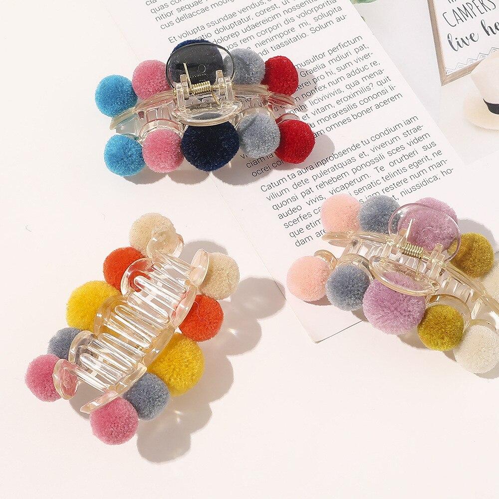 Купить заколка краб для волос с шариками женская элегантная разноцветная