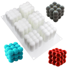 1pc New Arrival White Silicone 6 even Rubik's Cube Silicone Cake Mould Solid Cube Silicone Mousse Moulds Cake Tools 2019 Hot new winter roses in the forest moisturizing silicone mould dry peis fontaine cake decorative tools