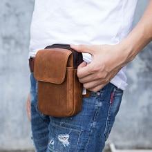 Vintage retro al aire libre de la cintura bolso de hombro de cuero de los hombres de desgaste de la correa del teléfono móvil bolsa vertical pequeña bolsa de mensajero