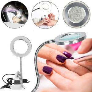 Image 2 - 8X Makeup Tattoo Magnifying Lamp Nail Art USB Cold Light Led Non Slip Equipment Clamp Table Glass Lamp Beauty Salon Desk Lamp