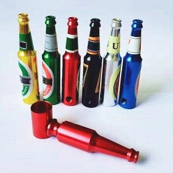 Mini pipas metálicas para fumar cerveza, Pipa para Fumar hierba, tabaco, molinillo de regalo, Narguile de humo al azar