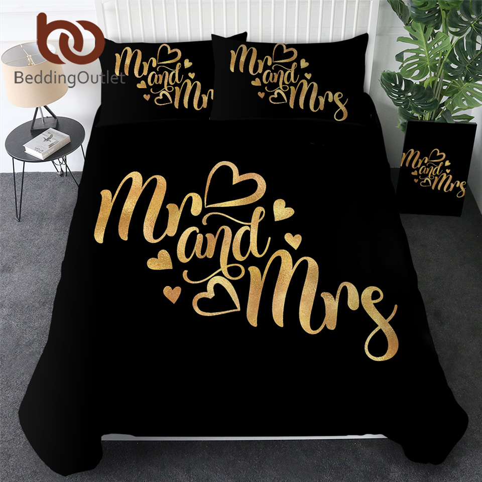 BeddingOutlet Luxury Bedding Sets Romantic Letters Duvet Cover for Couple Bedspreads Mr and Mrs Golden Bed