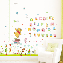 Cartoon Winnie Pooh Height Measure Wall Stickers For Kids Rooms Home Decor Animals Growth Chart Wall Decals Pvc Mural Art cartoon winnie pooh height measure wall stickers kids rooms home decor disney animals growth chart wall decals pvc mural art
