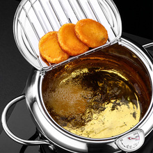 Kitchen Temperature Control Fried Chicken Pot Deep Frying Pot Thermometre Tempura Fryer Pan Stainless Steel Frying Pot