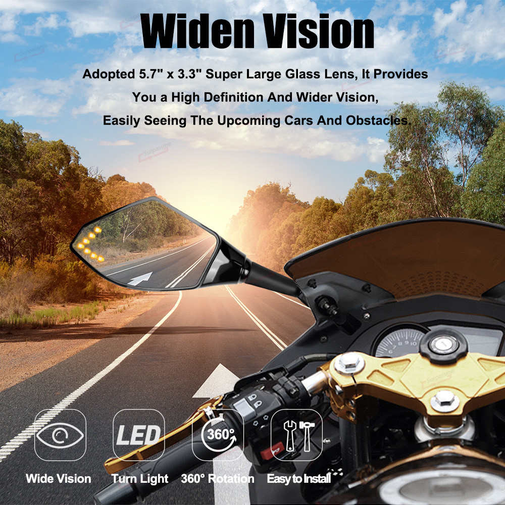 For Kawasaki ZX6R 2007 Ninja 250R 650R Motorcycle Turn Signals Lights Rearview Mirrors With Amber Blinker Motorbike Side Mirrors
