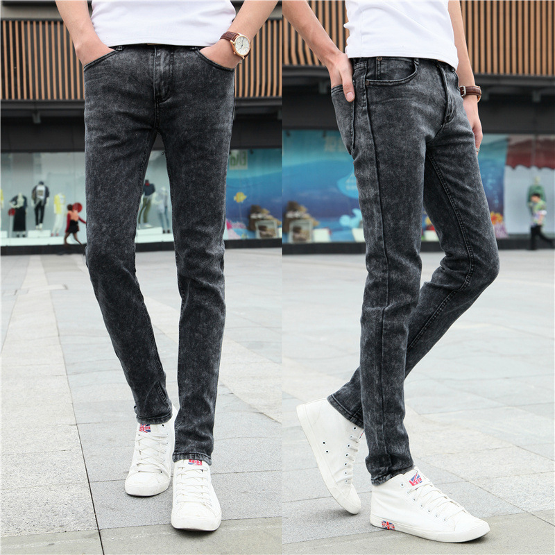 Men's Elastic Force Color Jeans Fund Bound Feet Tight Trousers Man Thin Comfortable Waist Slim Stretch Denim Pants