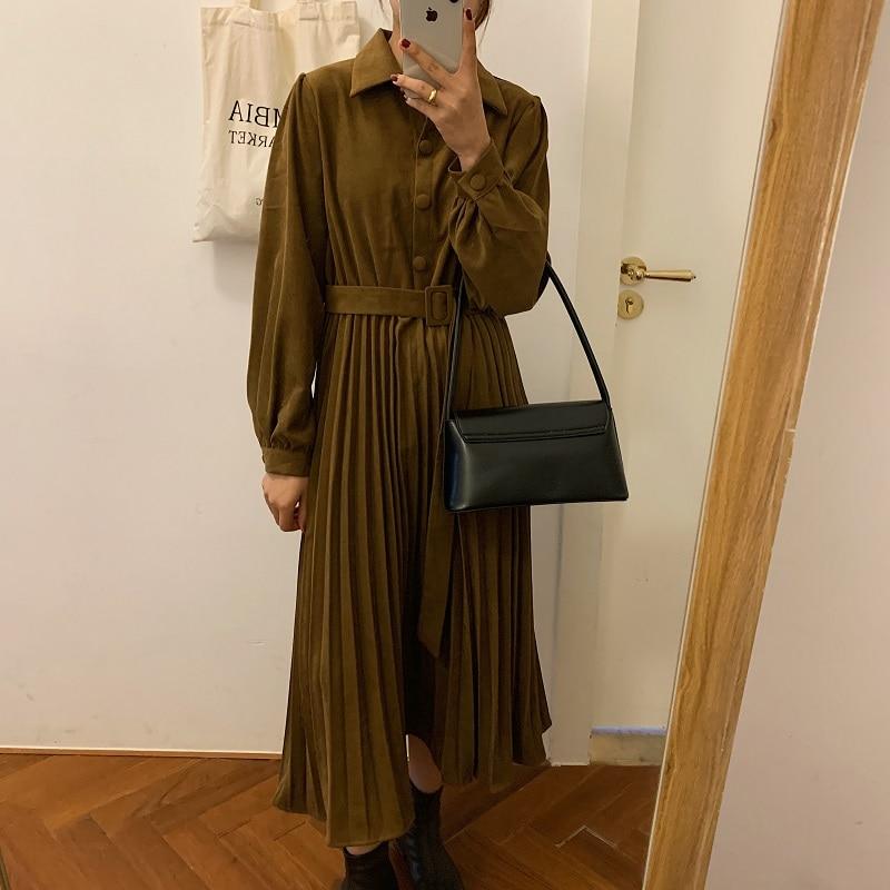 Hf1b0097fa7504934935b77869878491fD - Autumn Turn-Down Collar Long Sleeves Pleated Solid Midi Dress