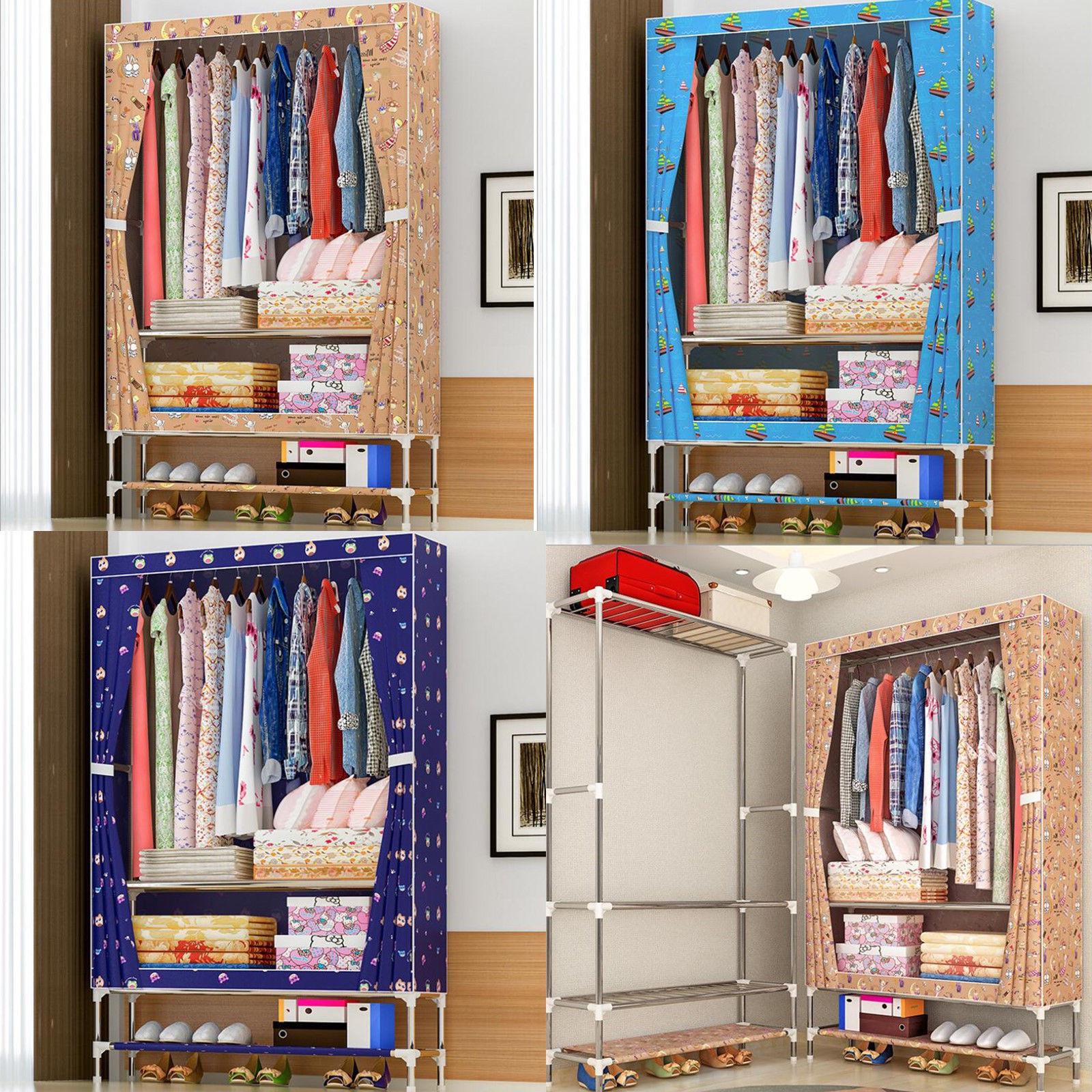 Nouveau multi-usages Oxford tissu armoire 25mm en acier tuyau Portable pliant étanche à la poussière vêtements armoire de rangement meubles