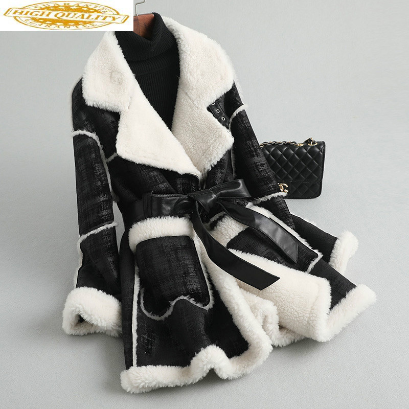 Real Fur Coat Winter Clothes Women Long Sheep Shearing Wool Jacket High Quality Overcoat 2020 KQN59751 KJ2951