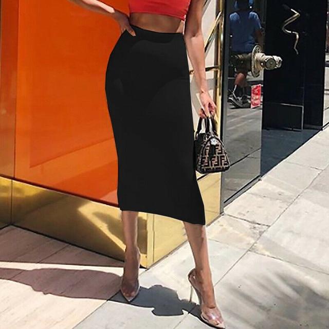 Brand New Women Office Midi Pencil Skirt Stretch Bodycon Tube Ladies Solid Skinny Plus Size High Waist Autumn Fashion Hot 2019 6