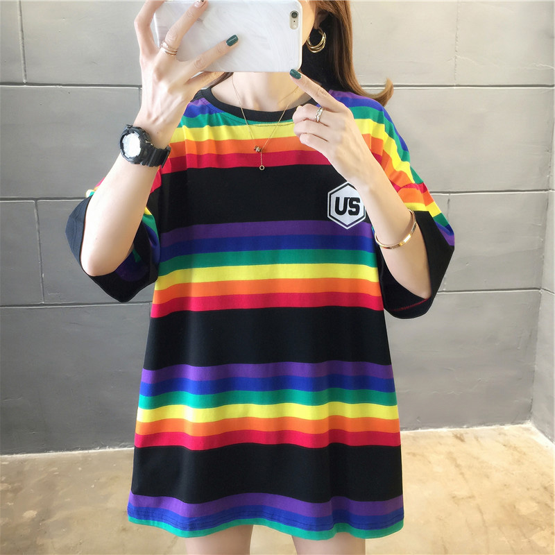 Hf1b020241bf44788951fec483700320fO - harajuku Women Striped Oversize Tshirt Chic Fashion 90s Short Sleeve Loose T-shirts Female Casual Tops Clothes Streetwear Tees