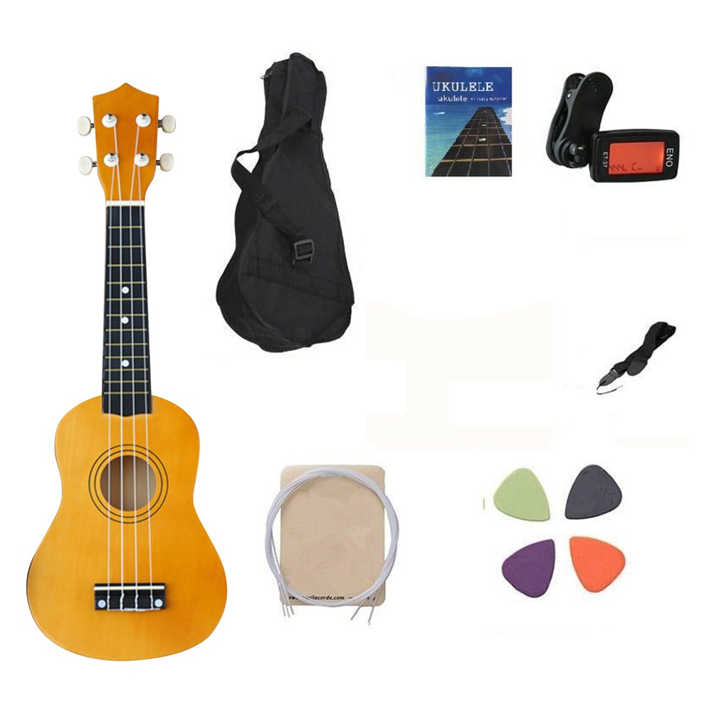Ukulele 21 Inch Sapele Beginner Kit With Clip On Tuner Light Weight Suitable For Solo Playing Singing Karaoke