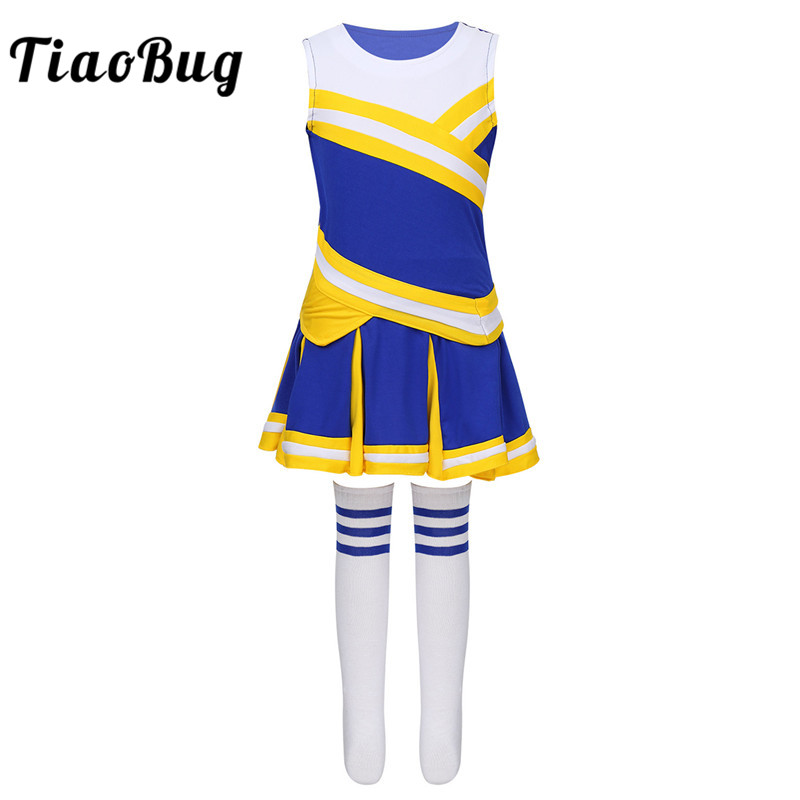 TiaoBug Kids Teens School Girls Cheerleading Uniform Tops With Pleated Skirt Socks Outfit Stage Performance Jazz Dance Costume