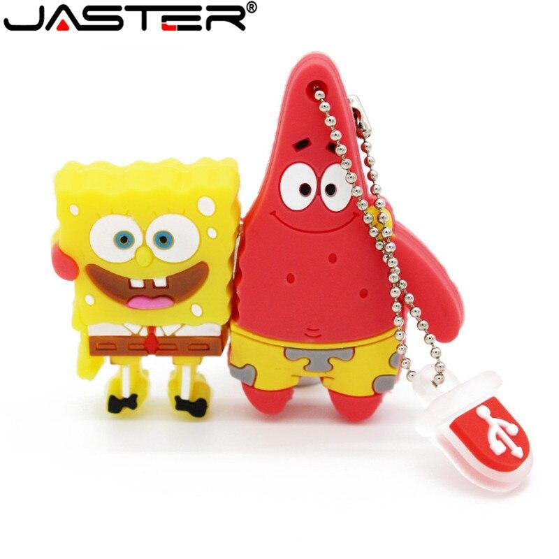 JASTER Cute Cartoon Sponge Bob Patrick Star Usb Flash Drive Memory Stick USB2.0 4GB 8GB16GB 32GB 64GB U Disk Gift For Children