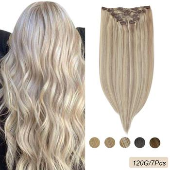 Ugeat Clip in Hair Extensions Real Human Hair 14-24 120g/7pcs Machine Remy Hair Blonde Color Full Head Clip in Extensions sindra indian straight remy hair clip in human hair extensions blonde color 60 full sets 6pcs set 100g 120g