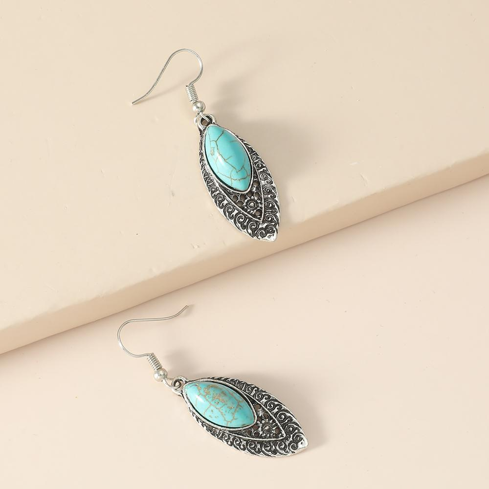 Leaf Flower Star Owl Natural Stone Drop Earrings Hollow Out Statement Animal Earrings For Women Party Jewelry Brincos