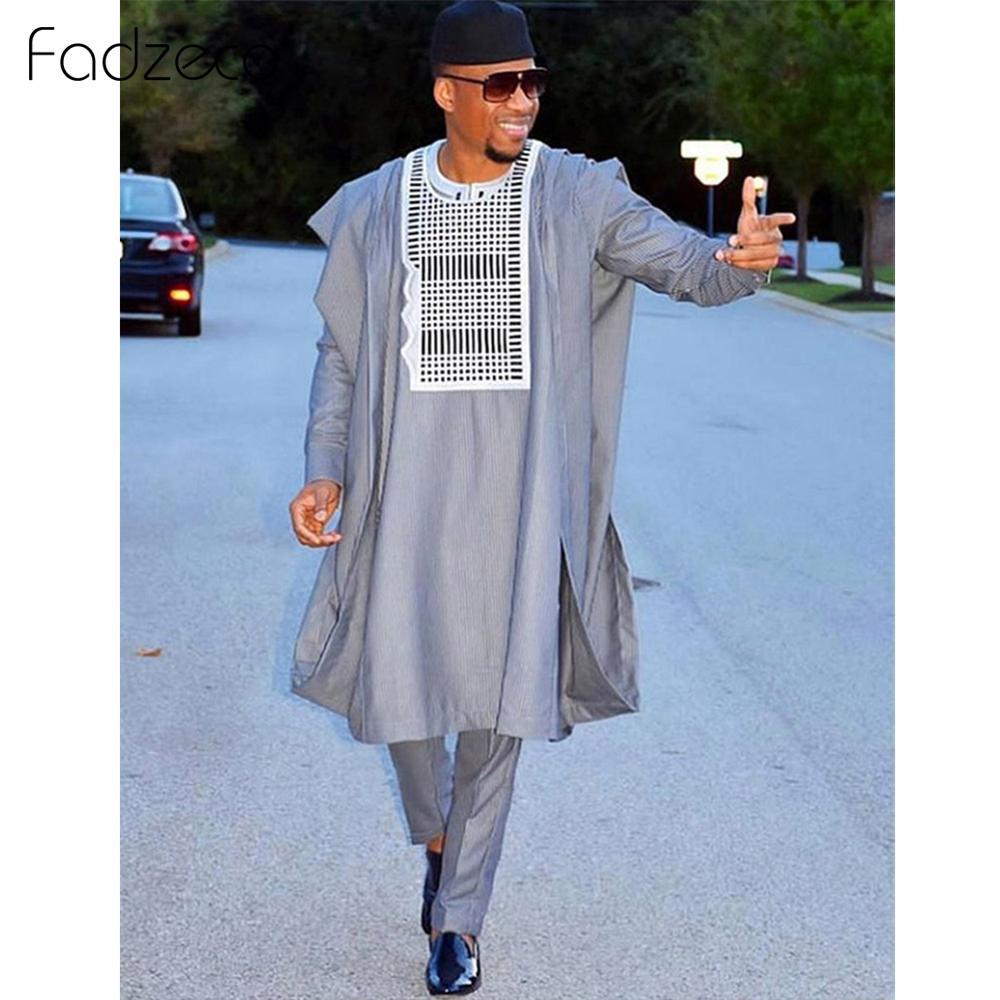 Fadzeco costumes africains pour hommes Agbada Dashiki affaires 3 pièces ensemble Boubou vêtements africains Style ethnique tenue formelle