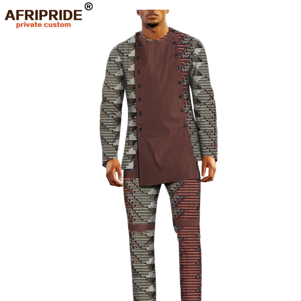 Image 5 - african ankara dashiki pants set for men AFRIPRIDE bazin richi  full sleeve top full length pants mens casual set A1816011Mens Sets