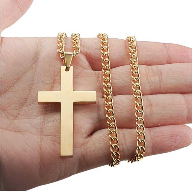 Nowy Christian jezus krzyż naszyjnik pojedyncze tytanu krzyż naszyjniki wisiorki naszyjnik choker ze stali nierdzewnej naszyjnik srebrny złoty czarny