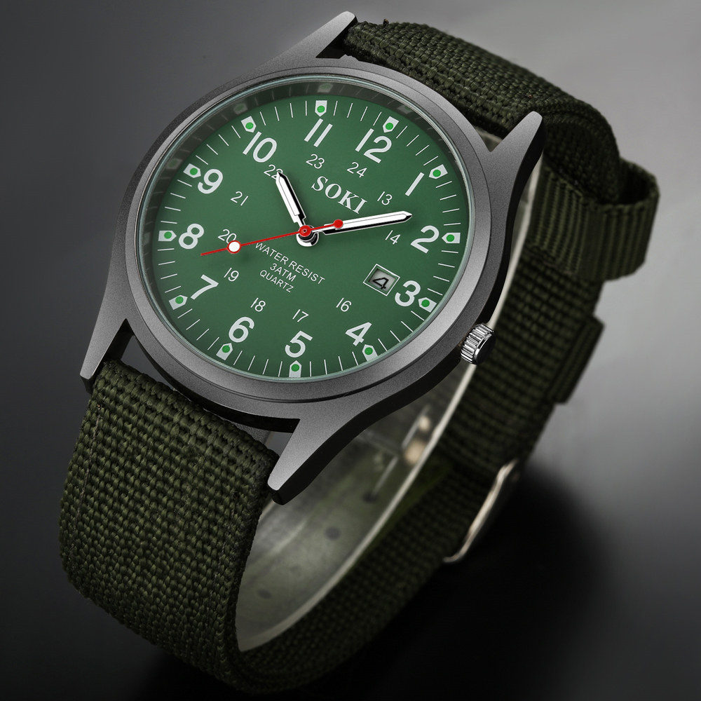 2020 Military Army Men's Date Canvas Band Stainless Steel Sport Quartz Wrist Watch Men Watch Waterproof Relogio Masculino