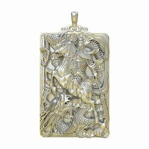 999 Стерлинговое серебро Кулон Дракон Гуань Гонг ювелирные изделия подарок производителям на карту для разработки Бесплатная доставка