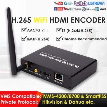 H.265 1080P Wireless WiFi HDMI Network Video Encoder 50fps Suitable for IPTV Live Broadcast to YouTube Facebook W/TS RTMP DDNS best h 265 h 264 1080p hd hdmi encoder for iptv live stream broadcast by rtmp http rtsp vlc for streaming server youtube