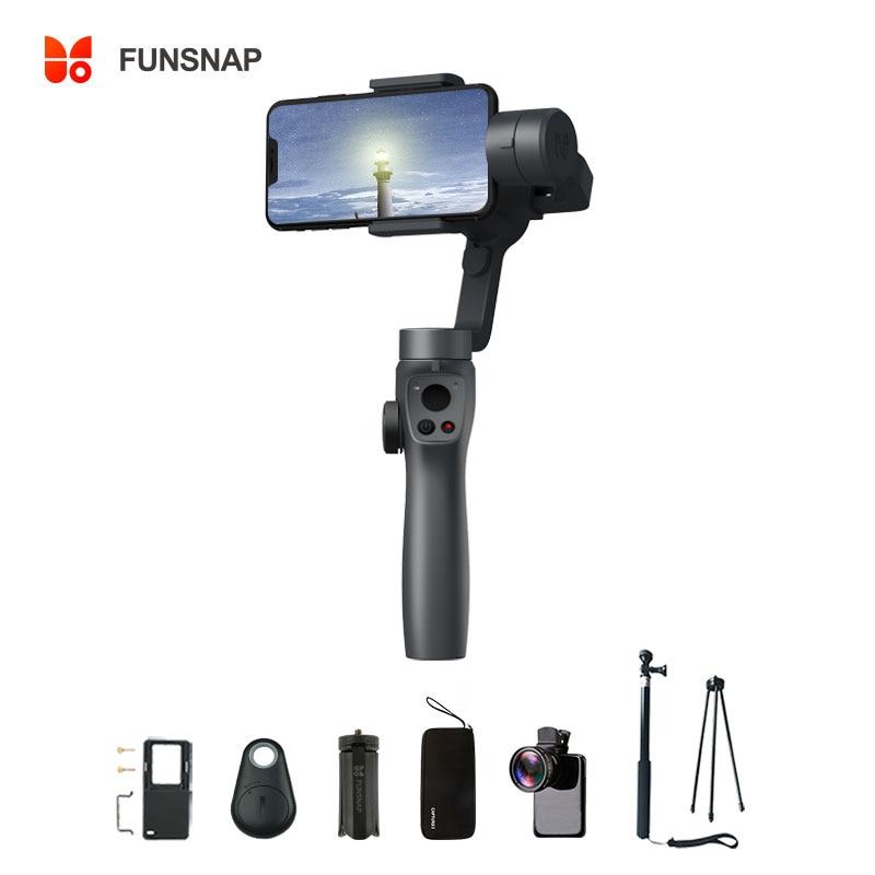 Funsnap Capture2 3 axes stabilisateur de cardan à main pour Smartphone Samsung Iphone X XR 8 7 Gopro caméra Action EKEN 1 Kit de cardan