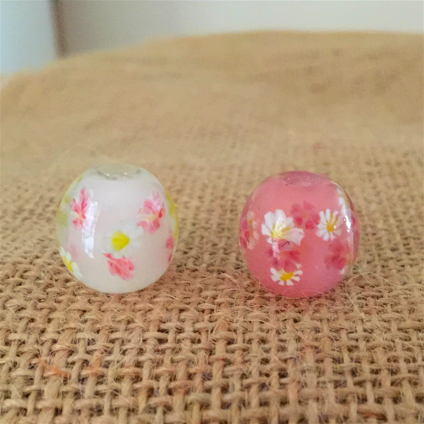Crystal flower glazed beads boutique <font><b>snowball</b></font> design <font><b>glass</b></font> beads image